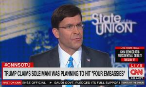 """Defense Secretary Mark Esper on CNN's State of the Union, with chyron reading """"Trump claims Soleimani was planning to hit 'four embassies'"""""""