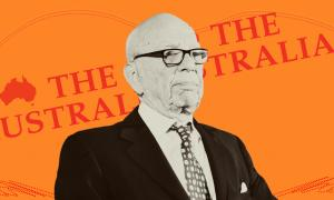 Rupert Murdoch on an orange background with The Australian masthead
