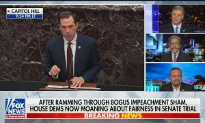 "Panel with Geraldo Rivera, Dan Bongino, and Sean Hannity, chyron reads: ""After ramming through bogus impeachment sham, House Dems now moaning about fairness in Senate trial"""