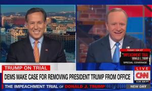 "Rock Santorum on screen left and Paul Begala on screen right, both mid-laughter. Chyron reads ""Trump on trial: Dems make case for removing President Trump from office"""