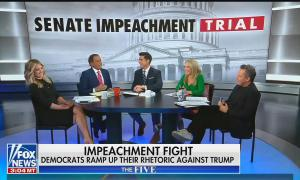 "The Five hosts sit around a table, screens behind table reads ""Senate Impeachment Trial"" and the chyron reads: ""Impeachment fight, Democrats ramp up their rhetoric against Trump"""