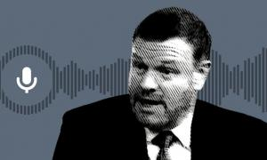 A black-and-white image of Rush Limbaugh & Tucker Carlson replacement host Mark Steyn