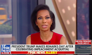 """Fox News anchor Harris Faulkner speaking above a chyron reading """"President Trump Makes Remarks Day After Celebrating Impeachment Acquittal"""""""