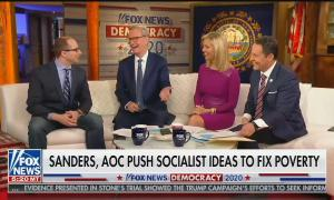 "Heartland Institute's Justin Haskins on the Fox & Friends couch on the left, with Steve Doocy, Ainsley Earhardt, and Brian Kilmeade to his right. Chyron reads ""Sanders, AOC Push Socialist Ideas To Fix Poverty"""