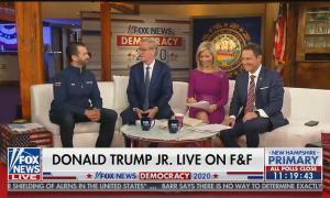 """From left to right: Donald Trump Jr, Steve Doocy, Ainsley Earhardt, and Brian Kilmeade. Chyron reads """"Donald Trump Jr. Live On F&F"""""""