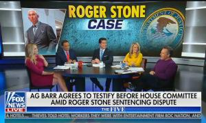 """The co-hosts of The Five, Katie Pavlich, Juan Williams, Jesse Watters, Dana Perino, and Greg Gutfled sit on set with chyron reading: """"AG Barr agrees to testify before House committee amid Roger Stone sentencing dispute"""""""
