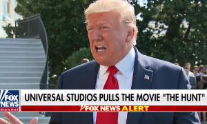 "Donald Trump with a chyron reading ""Universal Studios pulls the movie 'The Hunt'"""