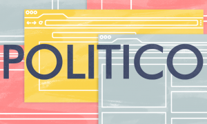 image of politico's logo with stylized internet windows in the background