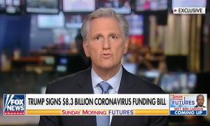 House Minority Leader Kevin McCarthy (R-CA) speaks to Fox Business about Congress' coronavirus spending bill