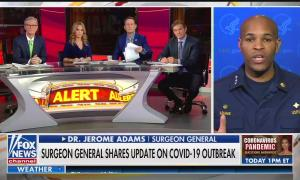 Fox & Friends hosts Steve Doocy and Brian Kilmeade, with guest host Dr. Nicole Saphier, interviewing US Surgeon General Dr. Jerome Adams