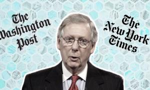 Sen. Mitch McConnell with The Washington Post and The New York Times logos in the background