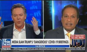 "Split screen of Greg Gutfeld and Juan Williams on The Five, chyron reads: ""Media slam Trump's ""dangerous"" COVID-19 briefings"""