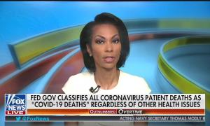 "Fox anchor Harris Faulkner speaking above a chyron reading ""Fed Gov classifies all coronavirus patient deaths as 'COVID-19 Deaths' regardless of other health issues"""