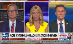 """Co-hosts Steve Doocy, Ainsley Earhardt, and Brian Kilmeade above a chyron reading """"More states rolling back restrictions this week"""""""
