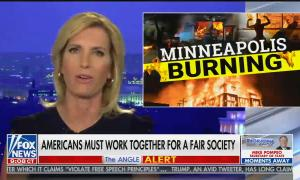 "Laura Ingraham hosts, chyron reads: ""Americans must work together for a fair society"""