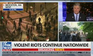 "split screen showing protests in Brockton, MA, Washington, D.C., and Sean Hannity in studio. Chyron reads: ""Violent riots continue nationwide"""