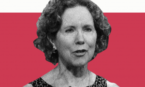 Black and white image of Heather MacDonald on a red background