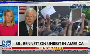 "chyron reads: ""Bill Bennett on unrest in America"""