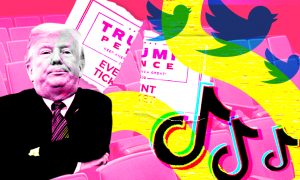 Trump on a pink background with the Twitter and TikTok logos