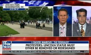 """chyron reads: """"Protesters: Lincoln statue must either be removed or redesigned"""""""