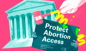"""Image of the Supreme Court and a """"Protect Abortion Access"""" sign"""