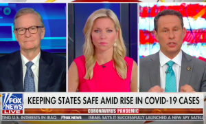 "The co-hosts of Fox & Friends above a chyron reading ""Keeping states safe amid rise in COVID-19 cases"""