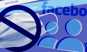 Image crossing out masks and showing Facebook group logos