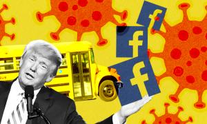 Image of Trump, school bus, facebook logo, virus