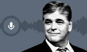 Sean Hannity from shoulders up, colorized gray with illustrated gray soundwaves and microphone icon