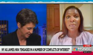 """chyron reads: """"NY AG James: NRA """"engaged in a number of conflicts of interest"""""""