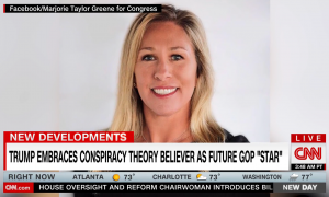 Marjorie Taylor Greene QAnon / Trump image from CNN