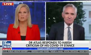 "chyron reads, ""DR ATLAS RESPONDS TO HARSH CRITICISM OF HIS COVID-19 STANCE"""