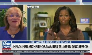 Fox contributor & niece of MLK Alveda King on screen left, next to video of Michelle Obama's Democratic National Convention speech