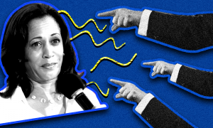 Kamala Harris with fingers pointing accusingly at her