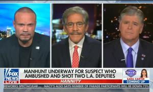 """chyron reads: """"Manhunt underway for suspect who ambushed two L.A. deputies"""""""