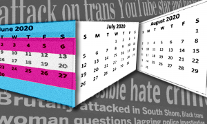 A summer calendar with the trans pride flag transposed over June