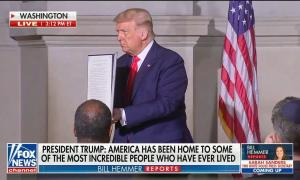 Trump holds up proclamation for creation of 1776 commission