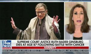 "chyron reads, ""SUPREME COURT JUSTICE RUTH BADER GINSBURG DIES AT AGE 87 FOLLOWING BATTLE WITH CANCER"""