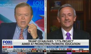split screen of Lou Dobbs and Robert Jeffress; chryon reads: Trump establishes '1776 Project' aimed at promoting patriotic education