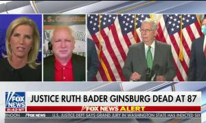 "chyron reads, ""JUSTICE RUTH BADER GINSBURG DEAD AT 87"""