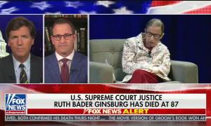 "chyron reads, ""U.S. SUPREME COURT JUSTICE RUTH BADER GINSBURG HAS DIED AT 87"""