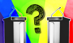 Two debate podiums in front of a rainbow background