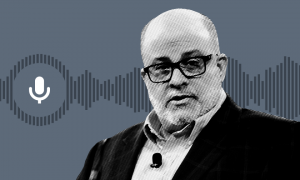 gray background, gray soundwave image, white clip art microphone image; black and white image of Mark Levin