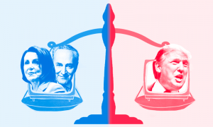 Donald Trump, Nancy Pelosi, and Chuck Schumer on a scale, balancing