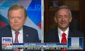 split screen of Lou Dobbs and Pastor Robert Jeffress; chyron reads: Louisville church opens doors as sanctuary for violent rioters