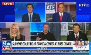 chyron reads: Supreme court fight front & center at first debate