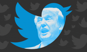Trump and the Twitter logo