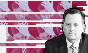 A black and white photo of Richard Grenell with a color photo of Michael Flynn behind him.
