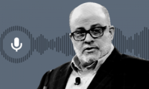 black and white image of Mark Levin; clip art of audio and soundwave