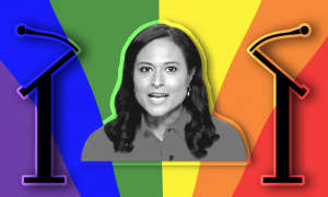 Kristen Welker in front of a rainbow background